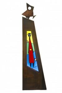 Oeuvre de Christian Cébé et de Leo Amery, d'après un dessin de Wozniak. Cliché Ville de Brive-Brivemag'/S. Marchou.